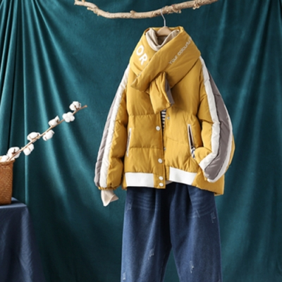 拼接撞色印花圍脖棒球領羽絨服寬鬆麵包服外套-設計所在