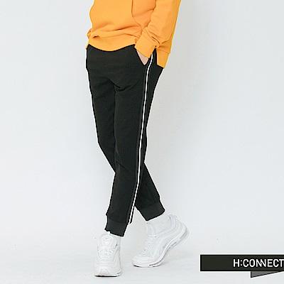 H:CONNECT 韓國品牌 男裝-線條滾邊束口長褲-黑
