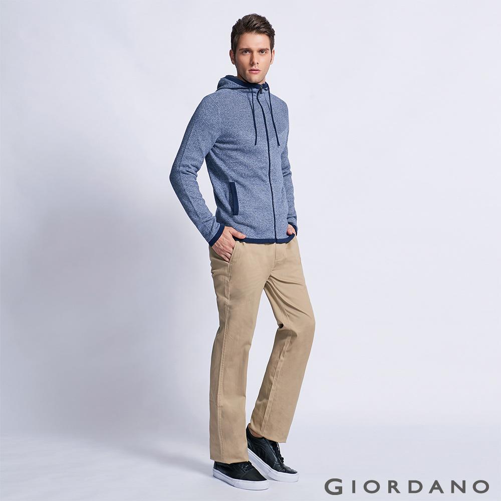 GIORDANO 男裝中腰基本款彈性直筒休閒褲 - 12 新薩哈拉