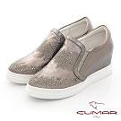 【CUMAR】休閒主義真皮排列鑽飾內增高休閒鞋-槍色