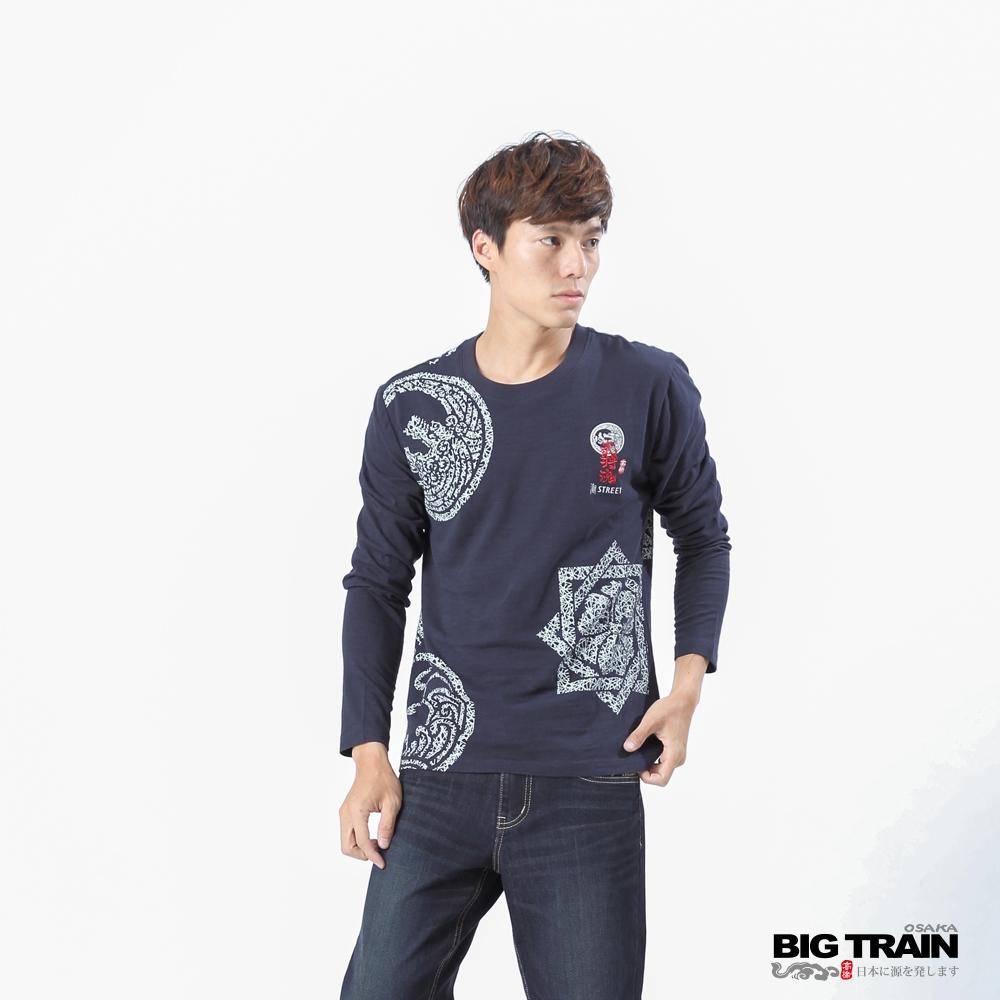 BIG TRAIN 加大家徽武將魂圓領長袖-男-深藍
