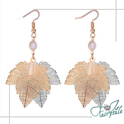 iSFairytale伊飾童話 雙色楓葉 漸層流蘇珍珠耳環 金銀