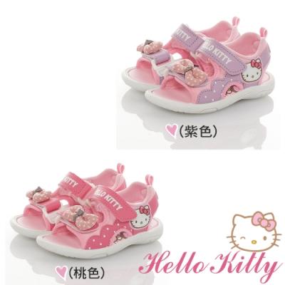 Hello Kitty童鞋 點點蝴蝶結輕量減壓休閒涼鞋-紫.桃