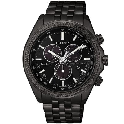 CITIZEN 星辰 光動能萬年曆三眼計時手錶-44mm/黑(BL5567-57E)