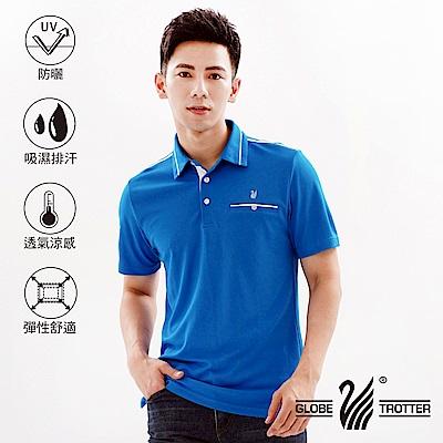 【遊遍天下】MIT男款吸濕排汗抗UV機能POLO衫GS10039藍色