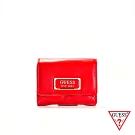 GUESS-女夾-LOGO壓紋磁扣短夾-紅