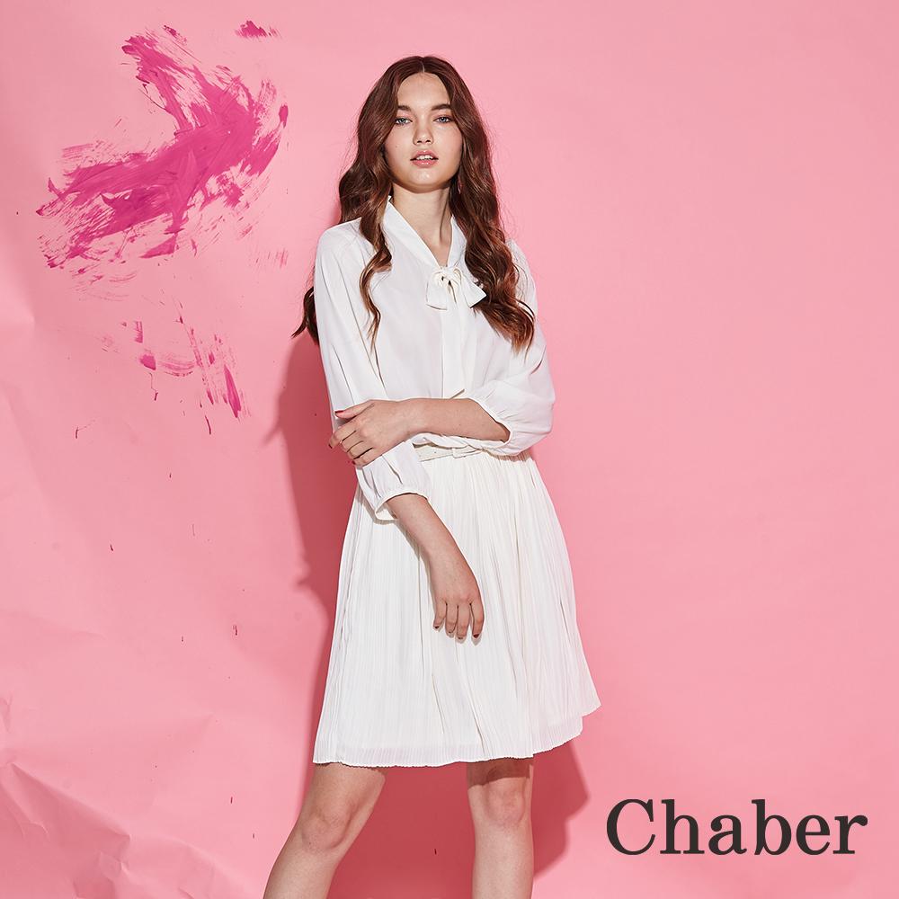 Chaber巧帛 知性時尚領結雪紡打褶九分袖造型洋裝-白(兩色)