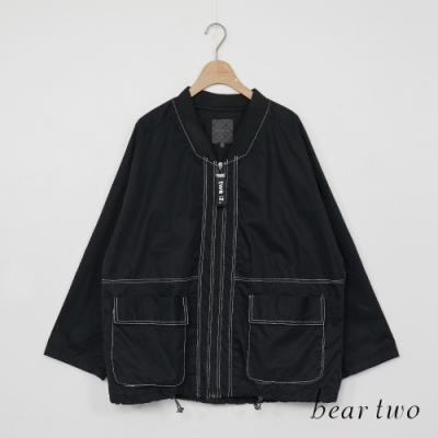 beartwo-帥氣風衣外套-黑