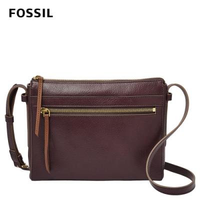 FOSSIL Felicity 真皮側背包-無花果紫紅色 SHB2000503