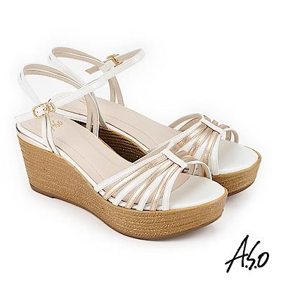A.S.O 雅緻魅力 雙色楔型奈米涼拖鞋 米色