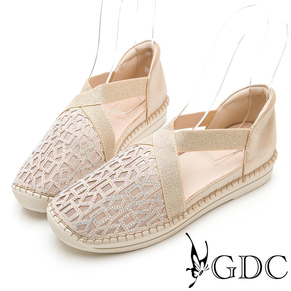 GDC-真皮拼接水鑽交叉舞鞋感簍空圓頭舒適休閒鞋-金色
