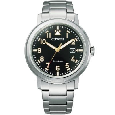 CITIZEN 星辰 GENTS光動能時尚鋼帶腕錶-黑40mm(AW1620-81E)