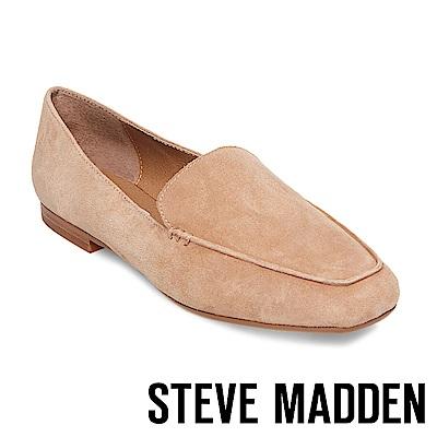STEVE MADDEN-DORA 麂皮手縫線樂福鞋-棕色