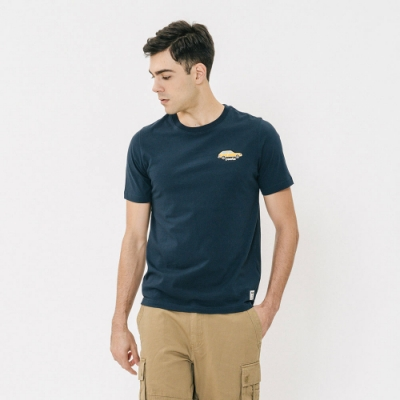 男裝Roots-左胸汽車補釘短袖T恤-藍