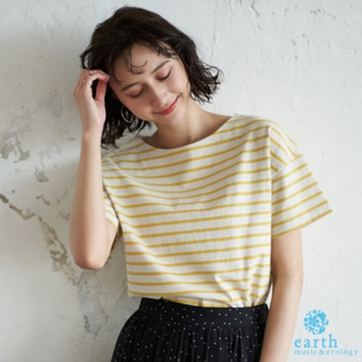 earth music 定番橫條紋船型領落肩短袖T恤