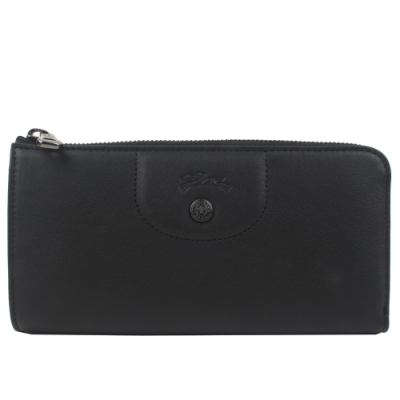 LONGCHAMP  Le Pliage Cuir  新款 黑釦 L型小羊皮拉鍊長夾 (經典黑)
