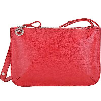 LONGCHAMP Le Foulonne 荔紋牛皮雙層拉鍊包(紅色)