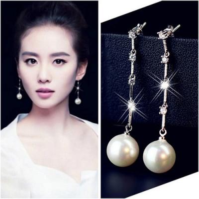 梨花HaNA 韓國S925銀針珍珠一字點鑽貴氣耳環