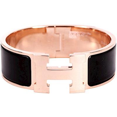 HERMES Clic Clac H PM 經典LOGO設計手環(黑x玫瑰金)