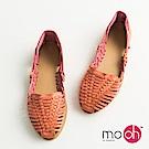 mo.oh-真皮編織平底涼鞋-粉色