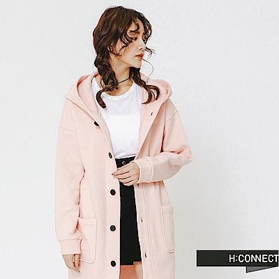 H:CONNECT韓國品牌女裝-排釦連帽長板外套-粉