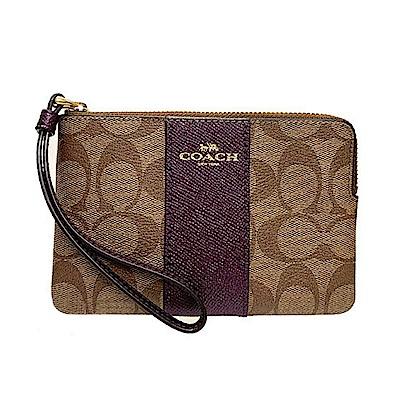 COACH 馬車LOGO直條皮革系列拉鍊手拿包 棕x亮彩莓紫