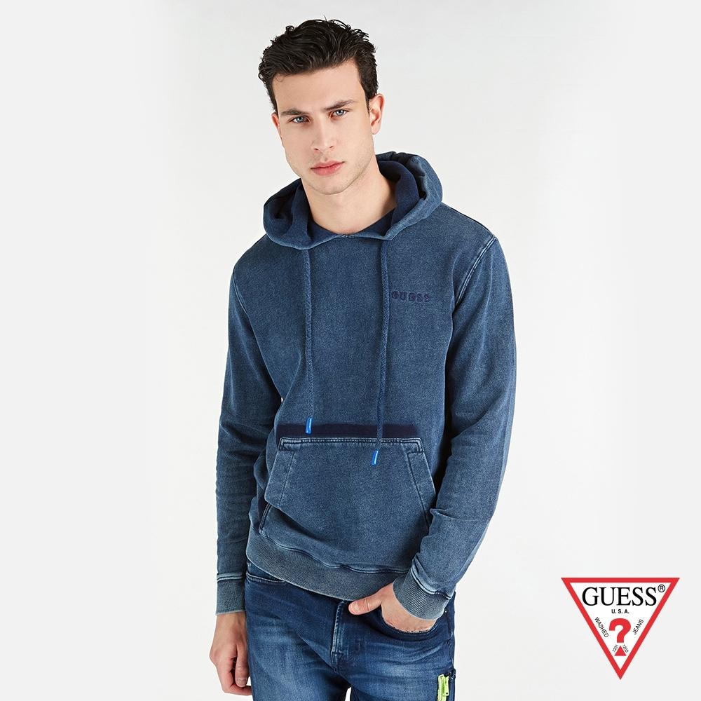 GUESS-男裝-復古磨白純棉長袖帽T-藍 原價2790