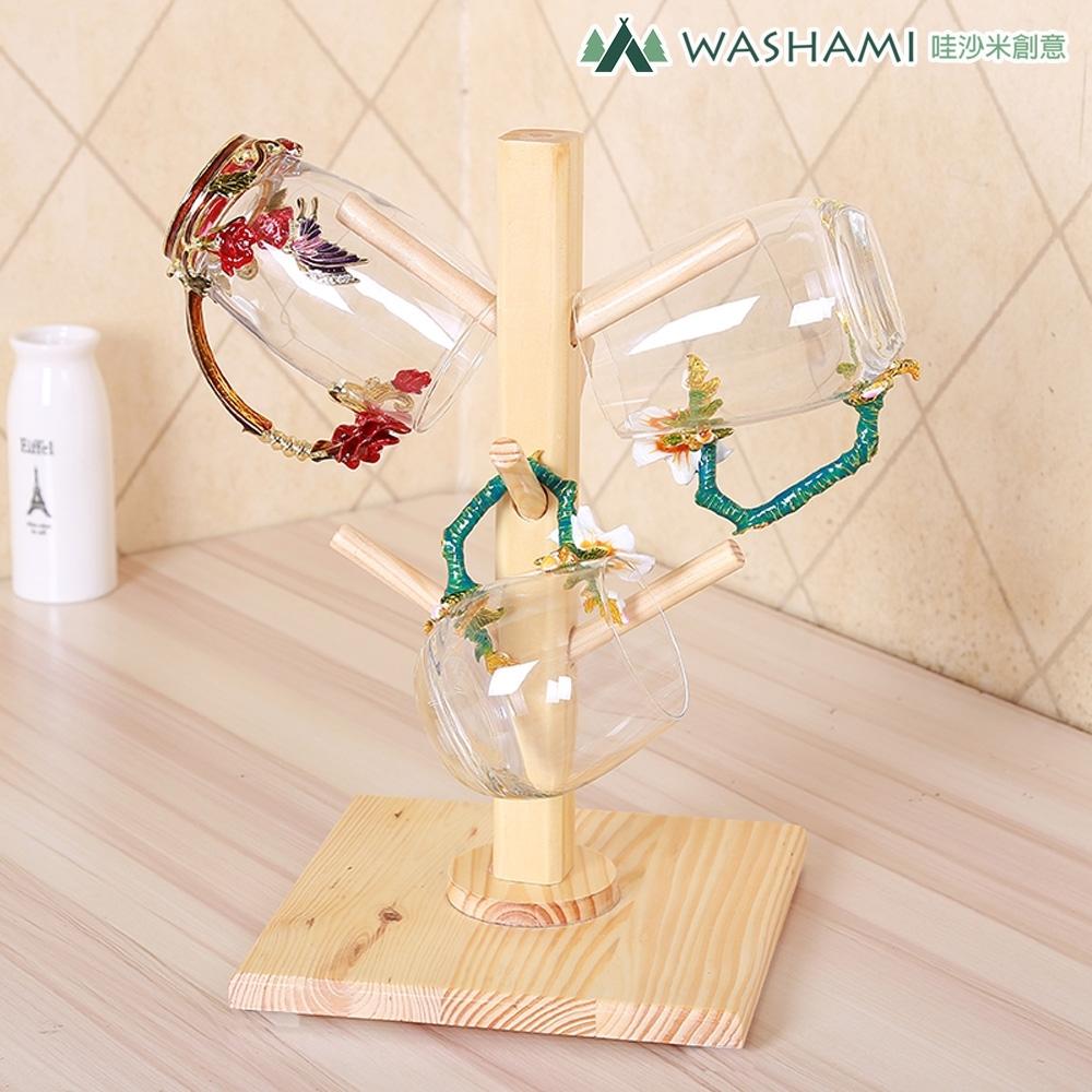 WASHAMl-松木置杯架可拆式(6杯)