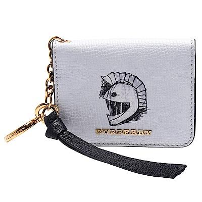 BURBERRY 品牌字母鑲嵌童趣圖案小牛皮暗釦證照 卡夾 附鑰匙圈~展示品