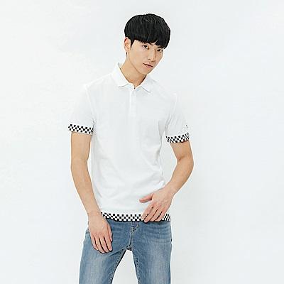 H:CONNECT 韓國品牌 男裝-黑白格滾邊POLO衫-白
