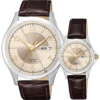 CITIZEN 星辰 經典日曆石英對錶-玫瑰金x咖啡/40+27mm