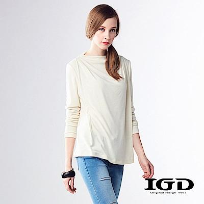 IGD英格麗 素面羊毛修身彈性上衣-米色