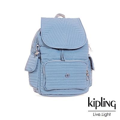 Kipling經典款低調藍掀蓋後背包(小)