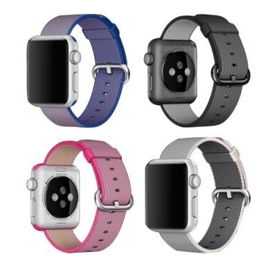 Apple Watch 4/5/6/SE/7 時尚針扣尼龍編織錶帶 手錶替換帶