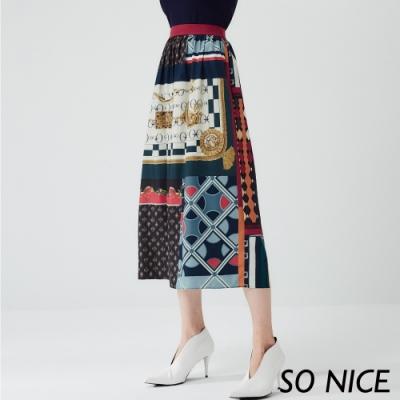 SO NICE優雅幾何印花長裙