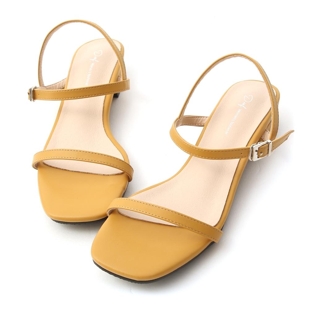 D+AF 繽紛好感.一字細帶方頭低跟涼鞋*黃