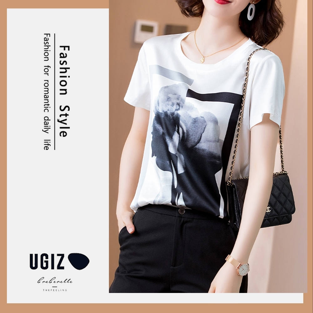 UGIZ-修身名媛款圓領水墨圖案造型上衣-2色(M-2XL)