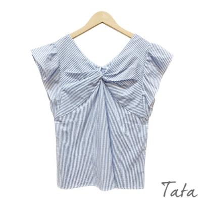 V領條紋扭結上衣 共二色 TATA-F