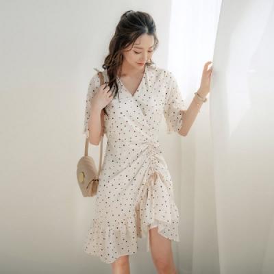 連身裙 氣質收腰波點五分袖洋裝RJ8052-創翊韓都