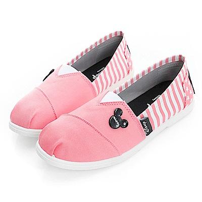 DISNEY 發燒話題 米奇後側條紋懶人鞋-粉