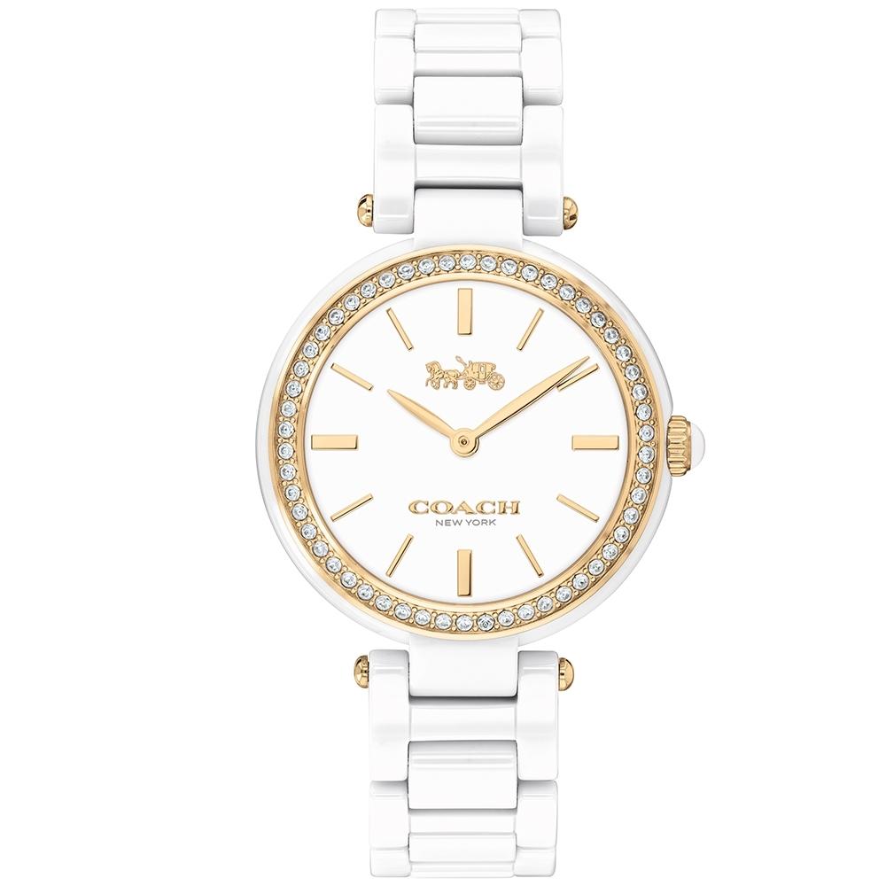 COACH 經典馬車時尚晶鑽陶瓷腕錶(14503451)-白x金/30mm