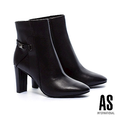 短靴 AS 簡約優雅金屬繫帶釦全真皮美型高跟短靴-黑