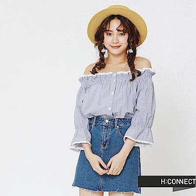 H:CONNECT 韓國品牌 女裝-清新格紋平口上衣-藍