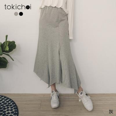 東京著衣 休閒時光鬆緊腰不規則下擺棉質中長裙(共二色)