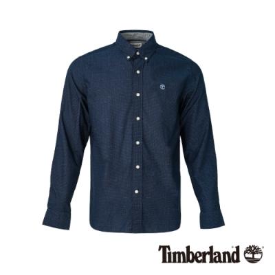 Timberland 男款寶石藍修身彈性長袖襯衫 A1WSA