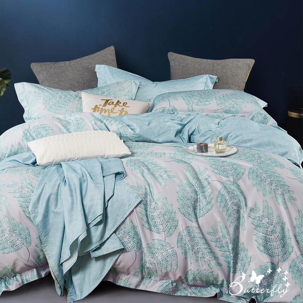 BUTTERFLY-3M專利+頂級天絲-加大薄床包被套四件組-綠雅