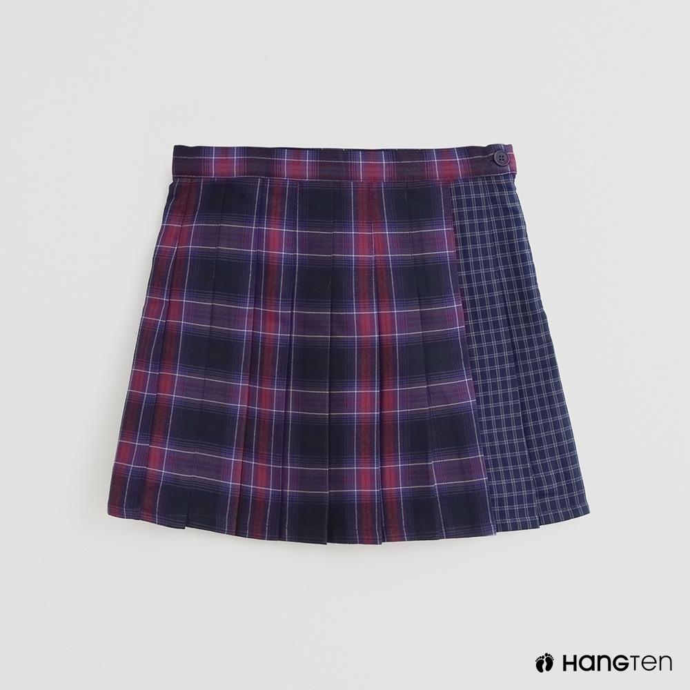 Hang Ten-童裝-英倫風格紋配色拼接短裙-粉