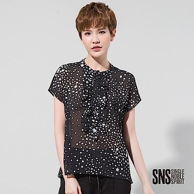 SNS 性感個性星空雪紡荷葉邊襯衫(1色)