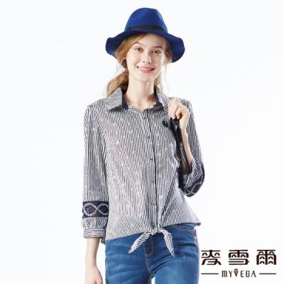 【麥雪爾】純棉直條圓點綁帶袖網格拼接襯衫
