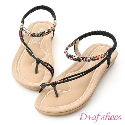 D+AF 花漾魅力.麻辮花布斜帶平底涼鞋*黑
